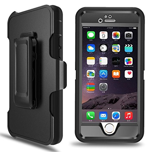 Iphone 6S Case Defender 4 Layers Rugged Rubber Shockproof Waterproof Drop Proof Built-in Screen Protector with Belt Clip Case Cover For iPhone 6/6s [4.7 inch] (Black) ()