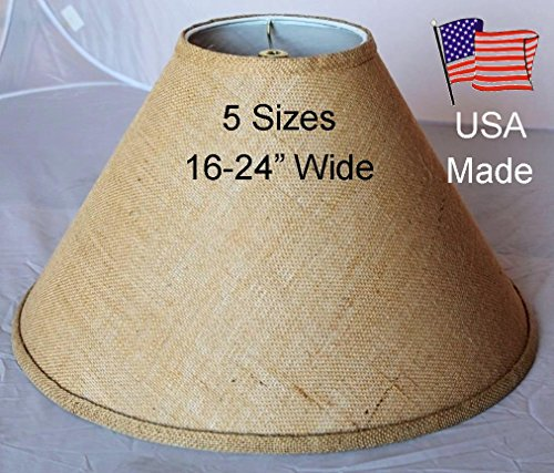 Burlap Lamp Shade Coolie Shape USA Made  - 24