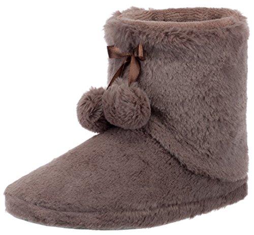 Brandsseller - Zapatillas de estar por casa para mujer, con pompon y suela antideslizante, color Beige, talla 36 EU