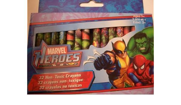 Amazon.com: Marvel Heroes Crayons ~ 32 Non-Toxic Crayons ...