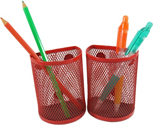 Half Moon Mesh Wire Pen Pencil Holder Magnetic 3.7 x 2.8 Inches Red (Set of 2)