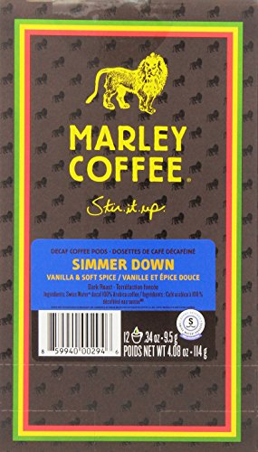 Marley Coffee Simmer Down Swiss Water Decaf Pods, 12 Coun...