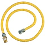 Brasscraft Cssc12R60 P Safety Plus Gas Appliance Connector With 5/8'' Od Efv And 3/4'' Mip x 3/4'' Fip x 60''