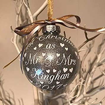 3d8680bb18849 Luxury Handmade Glitter Personalised First Christmas As Mr & Mrs Christmas  Bauble, New Mr &