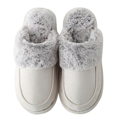 Cattior Womens Foderato Di Pelliccia Pantofole Calde Casa Indoor Pantofole Da Donna Scarpe Color Crema