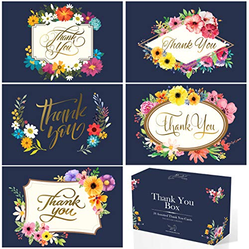 50 Thank You Cards with envelopes - Gold Foil and Navy Blue -5 Assorted designs - 4X6 Bulk for Wedding, Bridal Shower, Business, Graduation, Teacher, Funeral, Gift Cards - thick 300 gsm paper