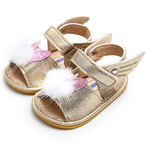 8ee1914d50 UniBaby7 Newborn Baby Girl Sandals Soft Sole Anti-Slip Infant Prewalker  Walking Shoes with White Velvet Ball Mary Jane Princess Dress Crib Shoes  for 3 3.5 4 ...