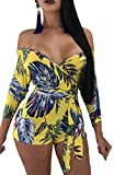 Yayu Womens Africa Print Wrap Tops Off Shoulder Shorts Bodysuits Jumpsuits with Belt 2 M