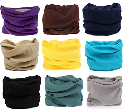 Sports And Outdoors (Kingree 9PCS Outdoor Multifunctional Sports Magic Scarf, High Elastic Magic Headband with UV Resistance, Headscarves, Headbands,(9 Solid Color)