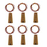 MIS1950s 6Pcs 2M 20 LED Solar Cork Wine Bottle Stopper Copper Wire Lights Fairy Lamps (Yellow)