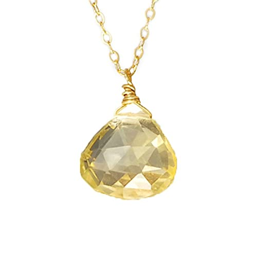 NY6design Healing Crystals Jewelry, Citrine Drop Pendant & Gold Plated  Chain Necklace 17