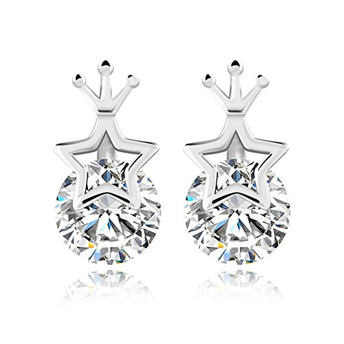 the-november-nocturne-hollow-out-five-star-crown-pattern-zircon-princess-silver-plated-stud-earring