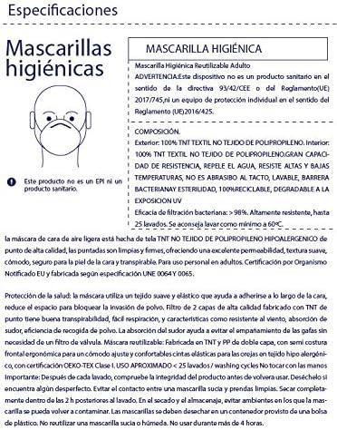 Pack 4 UDS MASCARILLAS DE Tela Lavable Reutilizable 2 Capas Doble Ajuste Elastico. BLANCO