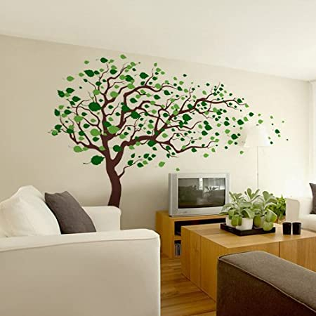 Amazon com pop decors removable vinyl art wall decals mural tree blowing in the wind baby