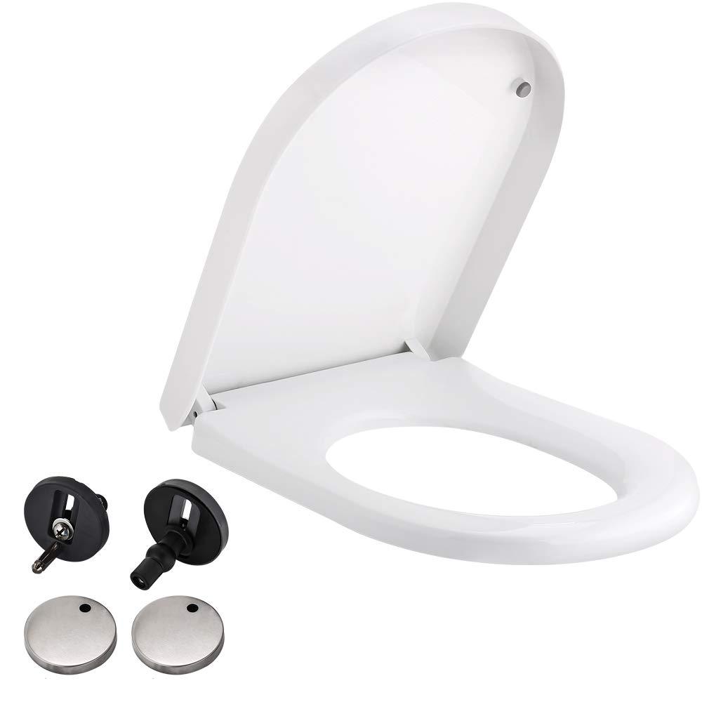 EXECO Abattant WC O-Type Si/ège De Toilette Antibact/érien Fait de Thermodurcissable et dAcier Inoxydable Fermeture Lente Et Douce pour Salle de Bain Familiale