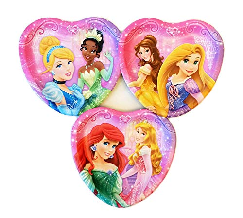 Disney Princess 24 ct Heart Shape Dessert Plates - Featuring Ariel, Snow White, Rapunzel, Tiana