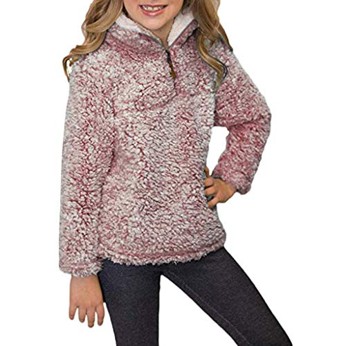 (Doublelift Kids Girls Boys Sherpa Fleece Pullover 1/4 Zipper Long Sleeve Sweatshirt Jacket Tops)