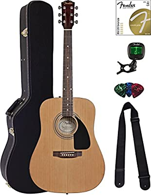 Fender FA-100 Dreadnought Acoustic Guitar - Natural Bundle with Hard Case, Tuner, Strings, Strap, and Picks