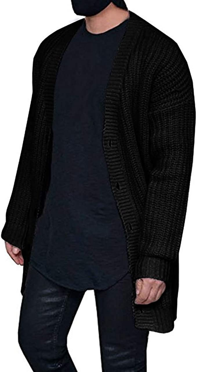 Mens Cardigan Sweaters Open Front Long Sleeve Button Up Cable Knit Cardigans with Pocket