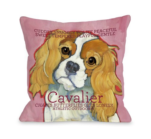 One Bella Casa Cavalier 1 Throw Pillow for Pets, 18 by 18-Inch from One Bella Casa