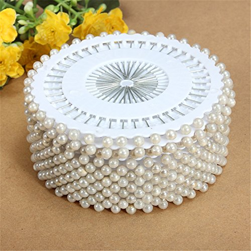 35mm 480Pcs Round Head Faux Dressmaking Pearl Decorating Sewing Pin Craft For Home Garden DIY Crafts Tool Accessories (WHITE)