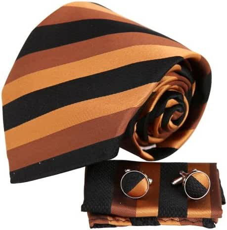 YAC1A17 Design for Bridegrooms Multicolored Striped Silk Necktie 3PT By Y&G