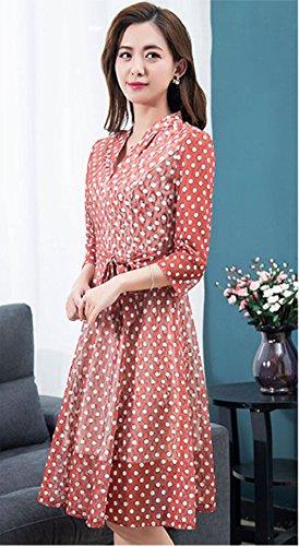 3 Manica Rosse Women`s Collo V Casual Abbigliamento Abiti Onda 4 Punto Cotiledone C0wqfT