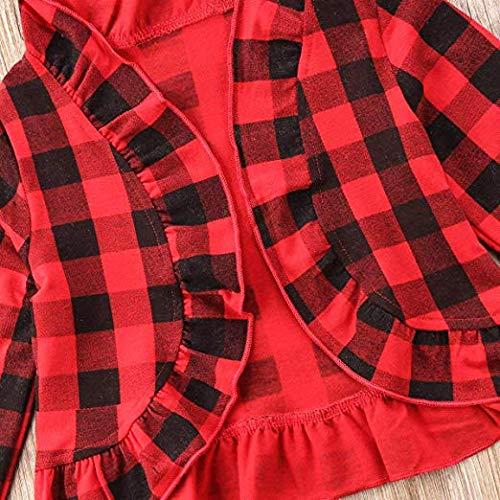 /Asisol Little Girl Plaid Christmas Jacket Ruffle Long Sleeve Coat