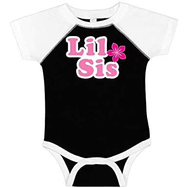 inktastic Little Sis with Pink Flowers Baby T-Shirt