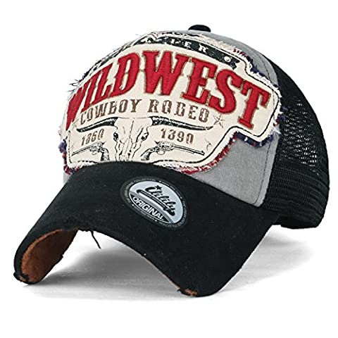 ililily Wild West Patch Vintage Distressed Snapback Trucker Hat Baseball Cap , Black (Wild West Accessories)