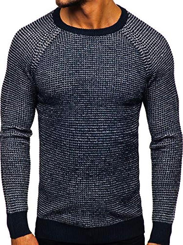 BOLF Męski sweter bluza bluza z długim rękawem dzianinowy sweter okrągły dekolt okrągły okrągły dekolt Basic klasyk 5E5: Odzież