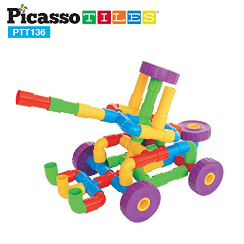 PicassoTiles PTT136 136pcs Pipe Tube Wheel Building Set w/ Musical Kit, Storage Container Box, Pipeworks Construction STEM Interlocking Block Car Truck Motor Toy Assembling Puzzle Interlocking Flute