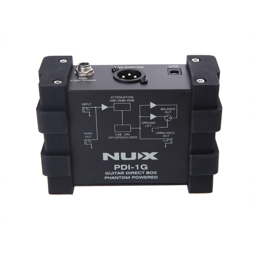 ammoon NUX PDI-1G Guitar Direct Injection Phantom Power Box Audio Mixer Para Out