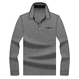 Men's Relaxed Polo Turn Down Collar Long-Sleeve  Business Tees