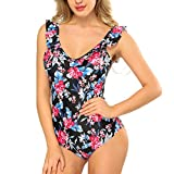 SESY Womens One Piece Swimsuits Sexy Backless Crossing Ties Green Leaves Printing Patterns Padded Push up Swimwear (Upon Floarl, M)