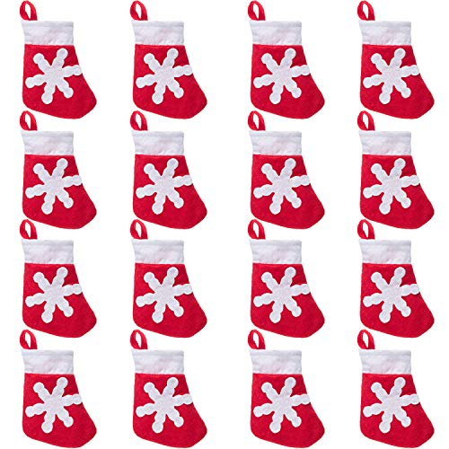 - Sumind 16 Pieces Snowflake Christmas Sock Decorations Mini Tableware Holders Candy Gift Pouch Bag