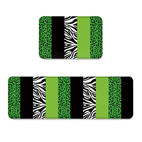 Beauty Decor 2 Piece Non-Slip Kitchen Mat Runner Rug Set Stripe Doormat Area Rugs Geometric Patchwork Animal Leopard Zebra Print Stylish Design 23.6''x35.4''+23.6''x70.9'' by Beauty Decor