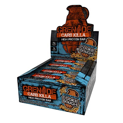 Grenade Carb Killa Protein Chocolate Bar | 20g High Protein Snack | Keto Friendly Low Net Carb Low Sugar |  Energy Bars | Chocolate Chip Cookie Dough, 12 Pack