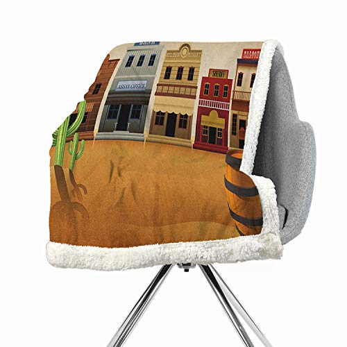 BenmoHouse American Berber Fleece Blanket Small Quilt 60 by 47 Inch Fluffy Multicolor Wild West Scenery Village Old Town Texas Cowboy States Nostalgic -