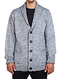 The Project Garments Men's Wool Blend Knitted Shawl Collar Cardigan Grey