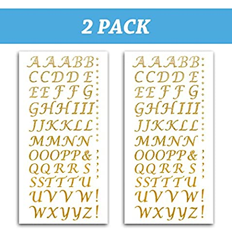 Peel and Stick Glitter Alphabet Letter Stickers for Grad Cap - Assorted Colors (Gold) (Rhinestone Peel And Stick)
