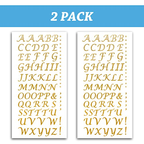 Tassel Toppers Peel and Stick Glitter Alphabet Letter Stickers for Grad Cap - Assorted Colors (Gold) -
