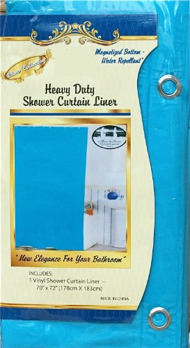 Vinyl Shower Curtain Liner with Metal Grommets & Magnets: AQUA