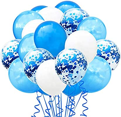 TOPWINRR Decoracion Globos Cumpleaños Ninos Látex Globos Bodas Confeti Adulto Globos Baby Azules, 60 pack