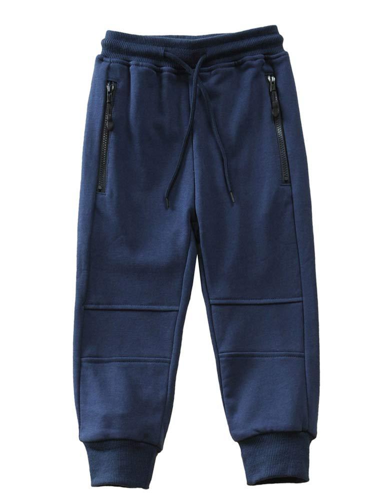 Mallimoda Boy's Knit Cotton Sweatpants Casual Sport Drawstring Waist Trousers Style 3 Navy 11-12 Years