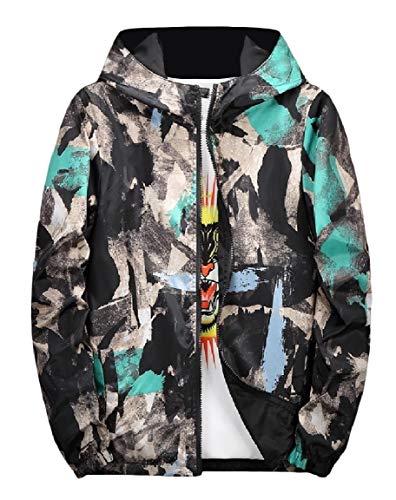 Sides Wear Jacket up Green Hood Coat Mens Zip Print Both Mogogo Camo Graffiti 5tvgawqWZ