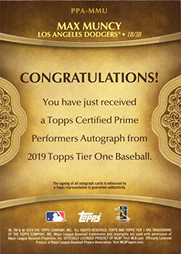 Only 299 made! 2019 Topps Tier One #PPA-MMU Max Muncy Certified Autograph Baseball Card