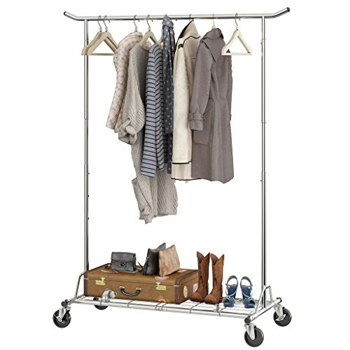 LANGRIA Heavy Duty Commercial Grade Garment Clothing Rack Supreme Rolling Rack Steel Adjustable Clothes Rack, Chrome Finish
