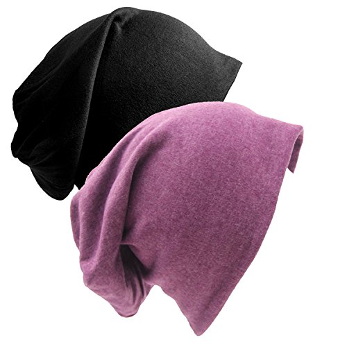 Review Senker 2 Pack of Baggy Soft Cotton Slouchy Stretch Beanie Hat,Chemo hats for Men and Women (purple/black) Purple/Black F