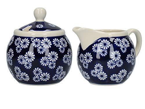 London Pottery Blue Small Daisies Sugar Bowl And Creamer, Closed Box (Daisy Creamer)